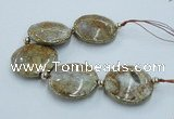 CNG2305 7.5 inches 35mm flat round agate beads with brass setting