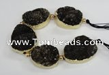 CNG2380 7.5 inches 25*30mm - 30*35mm freeform druzy agate beads