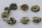 CNG2501 15.5 inches 30*40mm - 40*50mm freeform plated druzy agate beads