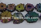 CNG2938 15.5 inches 8*10mm - 15*18mm freeform plated druzy agate beads