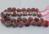CNG3023 15.5 inches 15*20mm - 22*30mm nuggets strawberry quartz beads