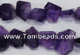 CNG307 15.5 inches 10*15mm faceted nuggets amethyst gemstone beads