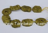 CNG3091 15.5 inches 25*30mm - 35*50mm freeform plated druzy agate beads