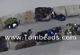 CNG3158 15.5 inche 8*15mm - 11*20mm freeform plated druzy agate beads