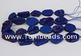 CNG3278 22*30mm - 30*40mm freeform plated druzy agate beads