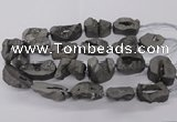 CNG3290 25*30mm - 28*45mm freeform plated druzy agate beads