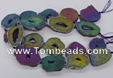 CNG3296 30*35mm - 35*40mm freeform plated druzy agate beads
