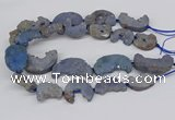 CNG3309 20*30mm - 30*45mm freeform plated druzy agate beads