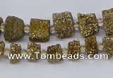 CNG3337 15.5 inches 6*8mm - 10*14mm nuggets plated druzy agate beads