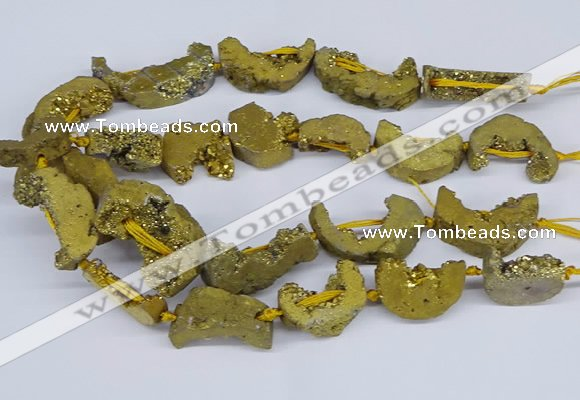 CNG3379 20*30mm - 30*45mm freeform plated druzy agate beads
