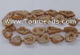 CNG3417 15.5 inches 18*25mm - 30*35mm freeform plated druzy agate beads