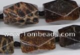 CNG3523 15.5 inches 15*25mm faceted nuggets fossil coral beads