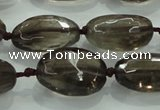 CNG475 15.5 inches 15*20mm - 25*35mm faceted nuggets smoky quartz beads