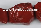 CNG50 15.5 inches 25*35mm nuggets red jasper gemstone beads