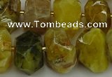 CNG5095 13*18mm - 15*20mm faceted nuggets yellow & green opal beads