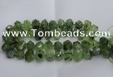 CNG5202 12*16mm - 15*20mm faceted nuggets green rutilated quartz beads