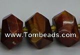 CNG5276 15.5 inches 12*16mm - 15*20mm faceted nuggets red tiger eye beads