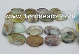 CNG5364 15.5 inches 20*30mm - 35*45mm faceted freeform blue opal beads