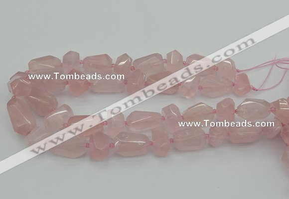CNG5372 15.5 inches 12*16mm - 18*25mm faceted nuggets rose quartz beads