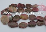 CNG5418 20*30mm - 35*45mm faceted freeform rhodochrosite beads
