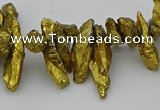 CNG5462 15.5 inches 6*10mm - 8*20mm nuggets plated quartz beads