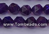 CNG5493 15.5 inches 10mm faceted nuggets amethyst gemstone beads