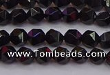 CNG5501 15.5 inches 6mm faceted nuggets black agate beads