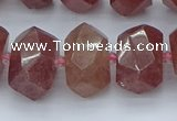 CNG5584 12*16mm - 15*20mm faceted nuggets strawberry quartz beads