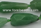 CNG5615 15*35mm - 18*45mm faceted teardrop green aventurine beads