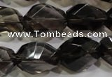 CNG562 15.5 inches 15*20mm faceted nuggets smoky quartz beads
