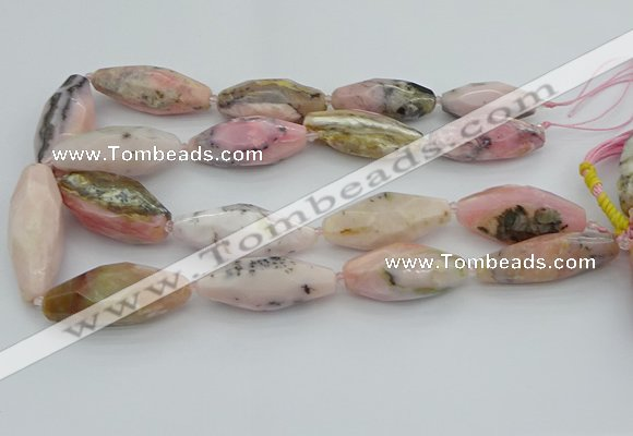 CNG5635 15.5 inches 15*35mm - 18*40mm faceted rice pink opal beads