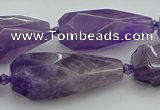 CNG5652 15.5 inches 15*35mm - 18*45mm faceted teardrop amethyst beads