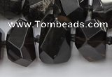 CNG5734 12*16mm - 15*20mm faceted nuggets ice black obsidian beads