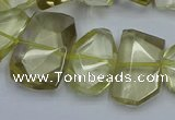 CNG5773 15.5 inches 12*16mm - 15*20mm faceted freeform lemon quartz beads