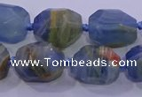CNG5796 12*16mm - 13*18mm faceted nuggets blue calcite beads