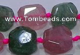 CNG5822 10*12mm - 10*14mm faceted freeform mixed strawberry quartz beads