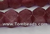 CNG5848 15.5 inches 14*15mm faceted nuggets strawberry quartz beads