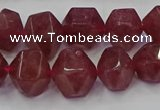 CNG5849 10*12mm - 14*15mm faceted nuggets strawberry quartz beads