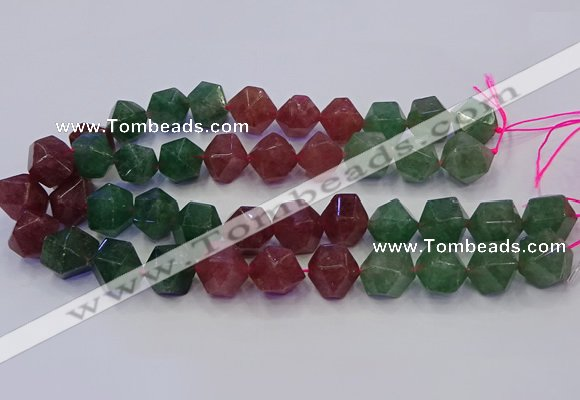 CNG5853 14*16mm - 16*18mm faceted nuggets mixed strawberry quartz beads