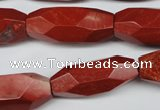 CNG602 12*28mm - 14*32mm faceted rice red jasper nugget beads