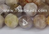 CNG6022 15.5 inches 12mm faceted nuggets silver needle agate beads