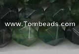 CNG6026 15.5 inches 12mm faceted nuggets moss agate beads