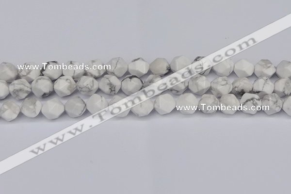 CNG6033 15.5 inches 12mm faceted nuggets white howlite beads