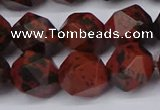 CNG6041 15.5 inches 12mm faceted nuggets mahogany obsidian beads