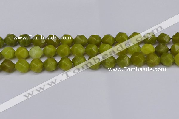 CNG6044 15.5 inches 12mm faceted nuggets lemon jade beads