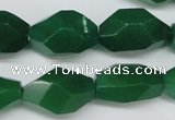 CNG605 14*22mm � 13*28mm faceted nuggets green aventurine beads