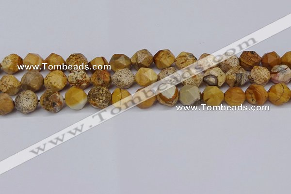 CNG6050 15.5 inches 12mm faceted nuggets picture jasper beads