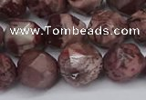 CNG6051 15.5 inches 12mm faceted nuggets red artistic jasper beads