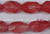 CNG608 12*20mm � 14*24mm faceted nuggets cherry quartz beads
