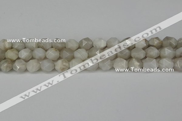 CNG6150 15.5 inches 10mm faceted nuggets grey agate beads